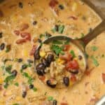 Mexican cheese soup in a pot with cilantro and a ladle
