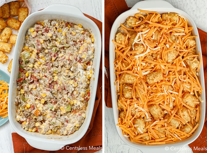 The left photo shows the ground beef, veggies and creamy soup layer in the bottom of a white baking dish. The right photo shows the tater tots and cheese on the top
