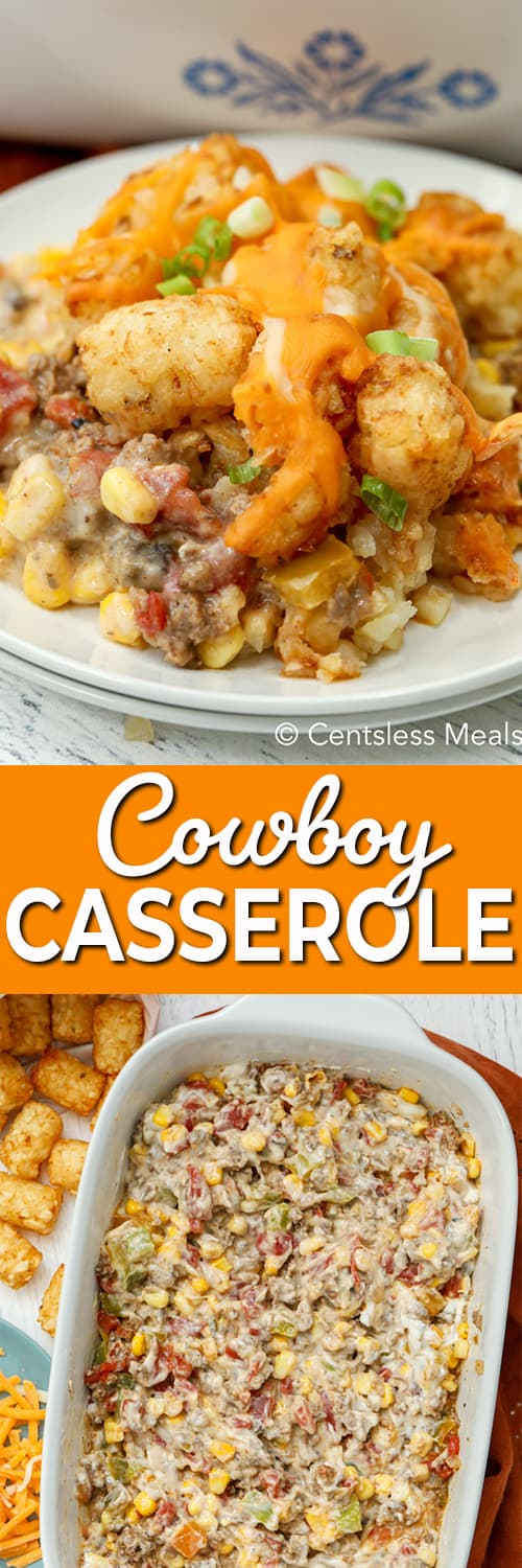 Top photo - Cowboy Tater Tot Casserole served on a white plate. Bottom photo - ground beef, veggies and creamy soup layer in the bottom of a white baking dish.