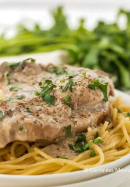 Crock-Pot ranch pork chops on a plate garnish with parsley