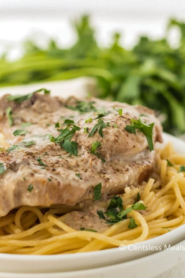 Close up of Crock Pot Ranch Pork Chops served over a plate of spaghetti and garnished with fresh parsley.