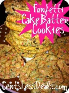 funfetti cake batter cookies on a plate with writing