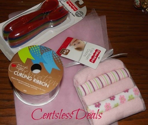 supplies for washcloth candies on a table top