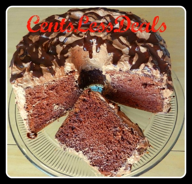 cocoa chiffon cake on a plate with a title