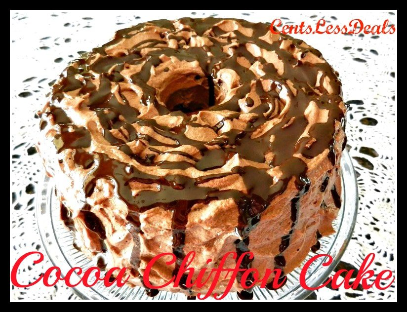 cocoa chiffon cake on a plate with writing