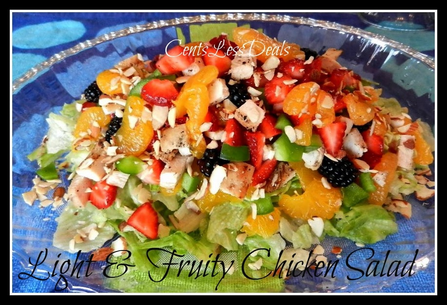 light & fruity chicken salad in a bowl with a title