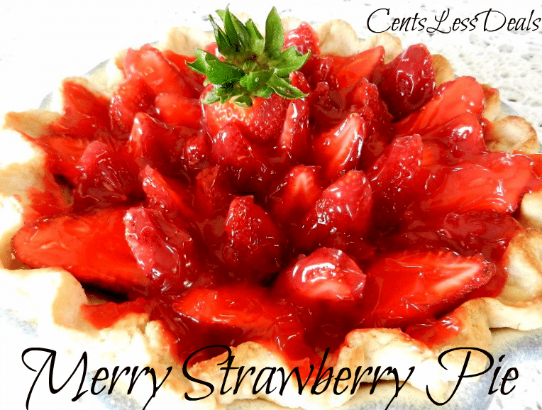 Merry Strawberry pie on a plate with a title