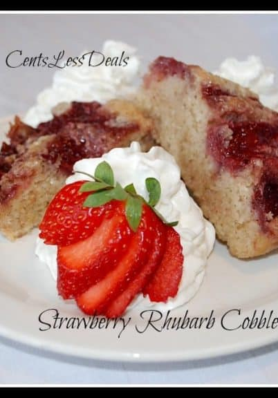 strawberry rhubarb cobbler on a white plate with a title