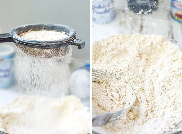 Two images showing flour being sifted and ingredients cut together.