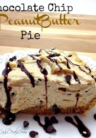 chocolate chip peanut butter pie on a white plate drizzled with chocolate and a title