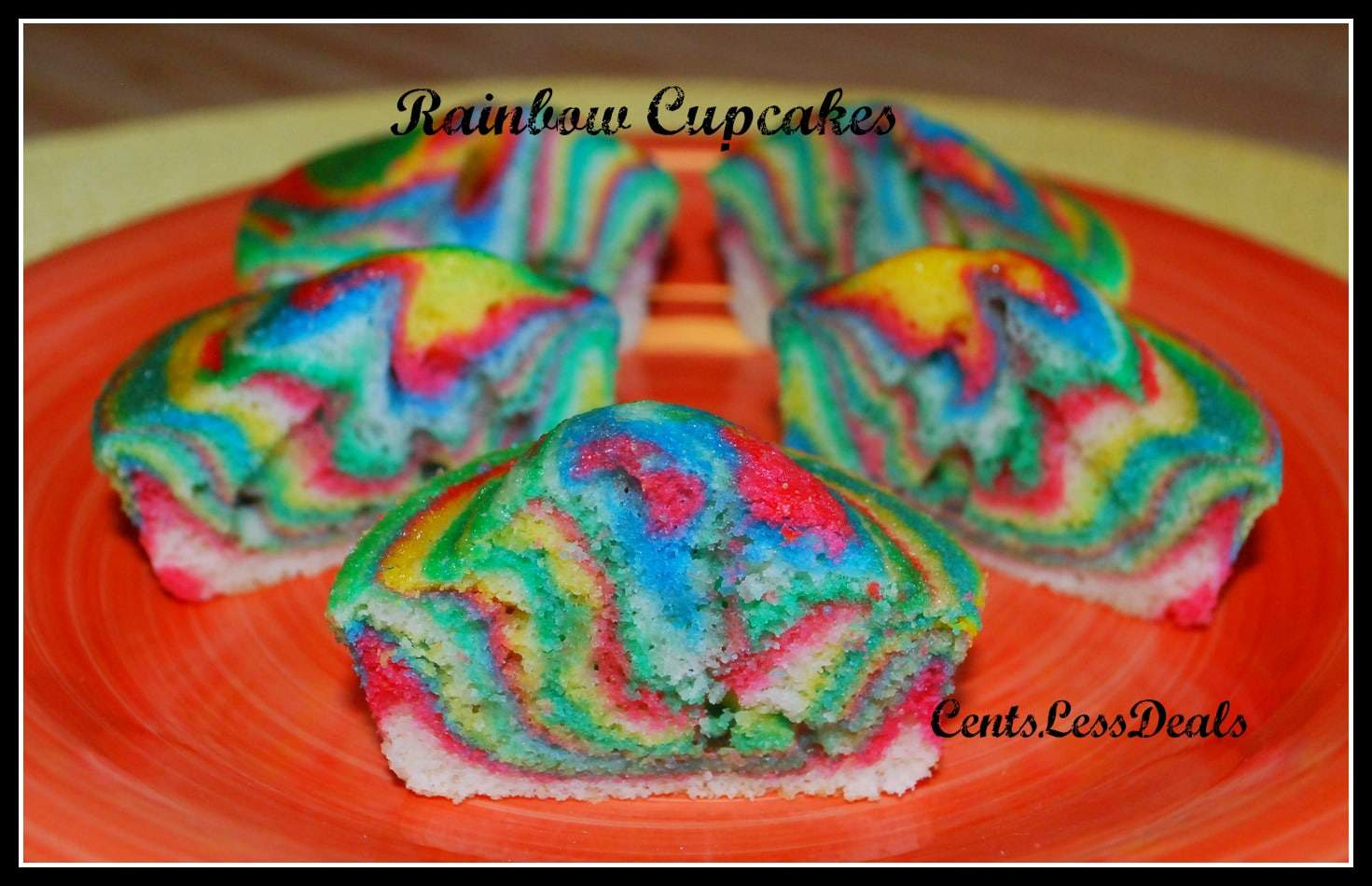 rainbow cupcakes on a red plate with a title