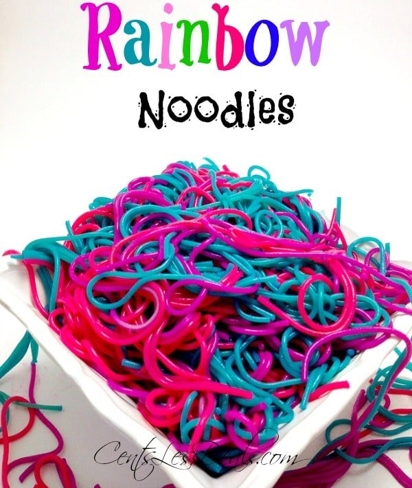 rainbow noodles in a bowl with a title