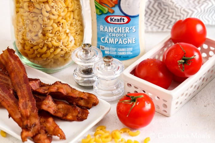 Ingredients for bacon ranch pasta salad
