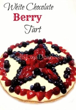 White Chocolate Berry Tart with berries and a title