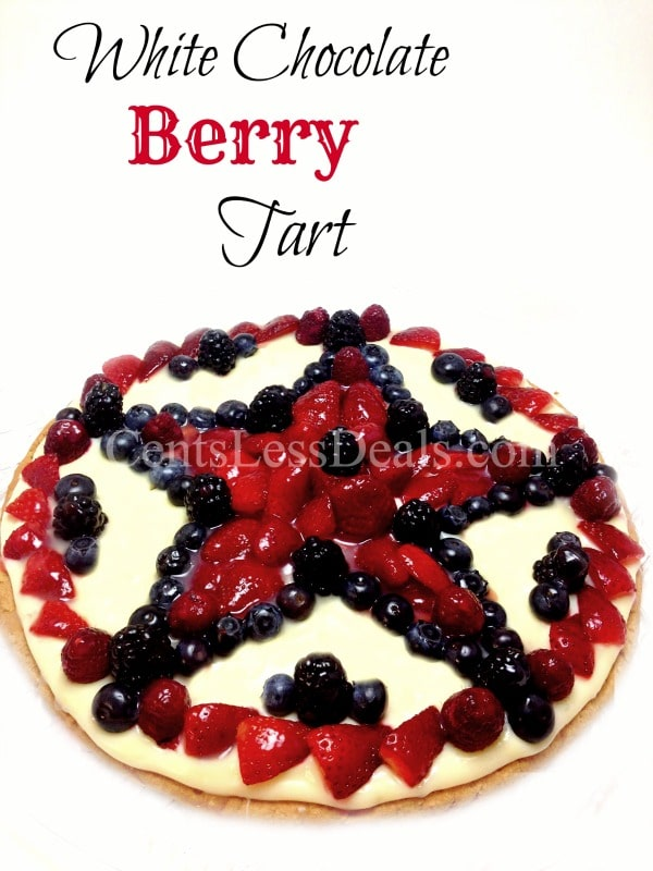 White Chocolate Berry Tart recipe. Definitely making this for memorial day!
