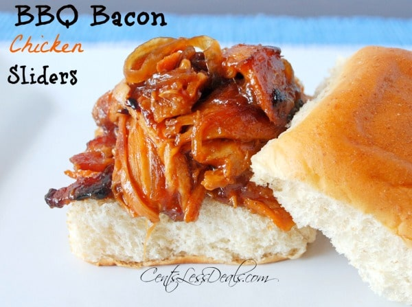 bbq bacon chicken sliders on a bun on a plate with a title