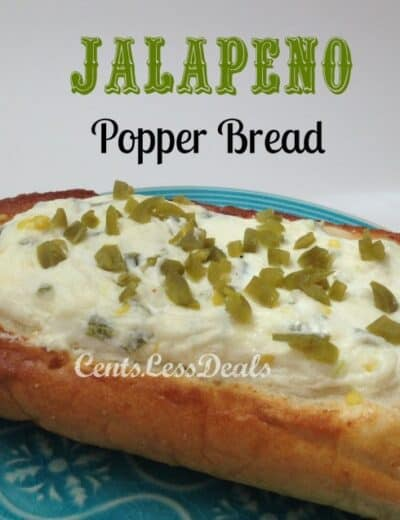 jalepeno popper bread on a blue plate topped with jalapenos and a title