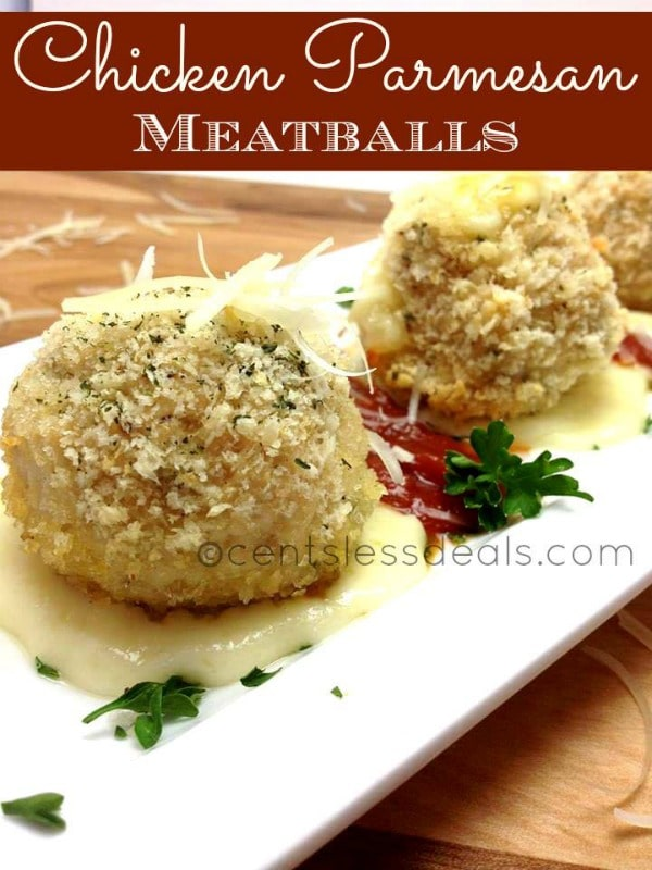 Chicken Parmesan Meatballs are ground chicken balls stuffed with a surprise cheese center, so delicious!