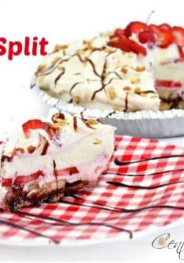 piece of banana split pie on a plate with the whole pie in the background