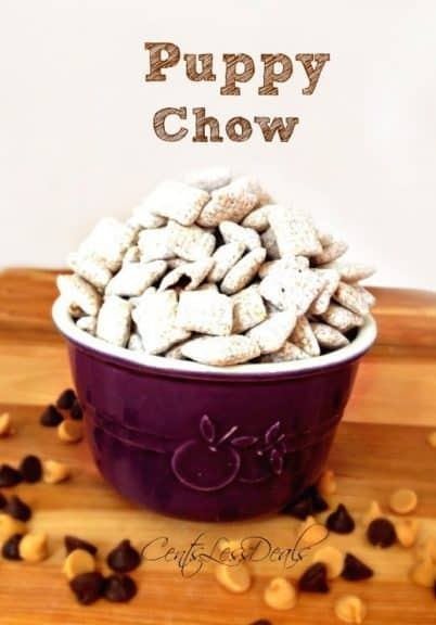 puppy chow in a bowl with a title