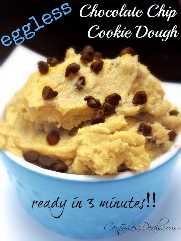 3 minute eggless chocolate chip cookie dough