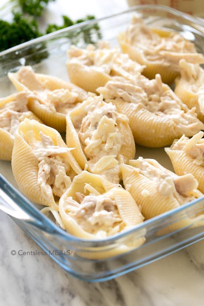 cheesy chicken stuffed shells recipe - centsless deals
