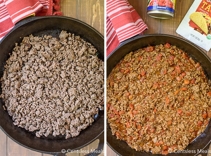Ground beef being browned and seasoned.