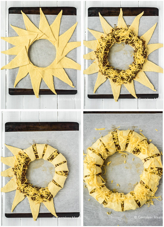 Four pictures showing the steps to make taco ring. Top left shows the crescents spread out, top right shows the beef and cheese added to the center, bottom left shows each crescent being folded over into the center, bottom right shows the completed ring ready to bake