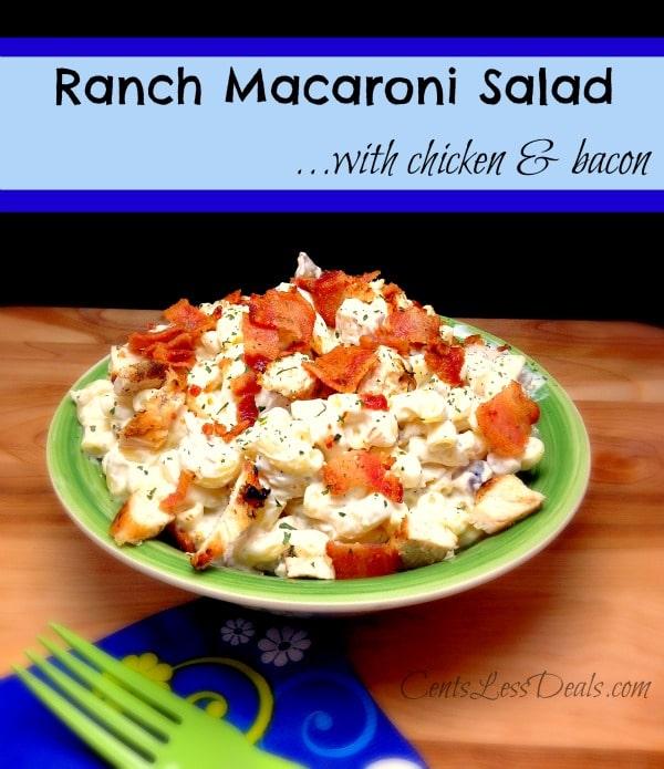 ranch macaroni salad with chicken & bacon recipe