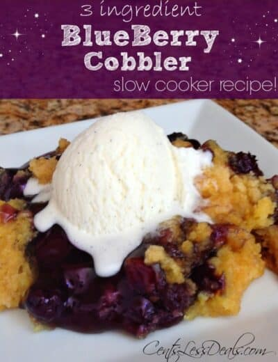 Three ingredient Blueberry cobbler slow cooker recipe on a white plate topped with ice cream with a title