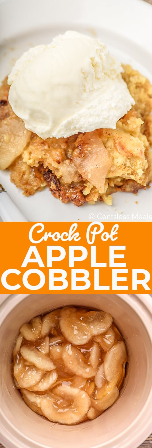 Top photo - Crock Pot Apple Cobbler served on a white plate with a scoop of ice cream on top. Bottom photo - Apple pie filling in the bottom of a slow cooker.