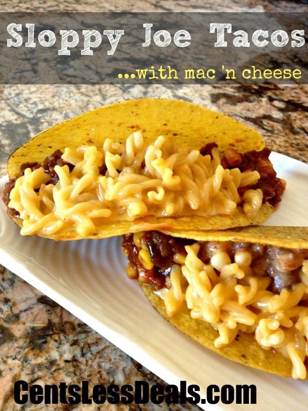 Sloppy Joe Tacos with mac 'n cheese!! comfort food!