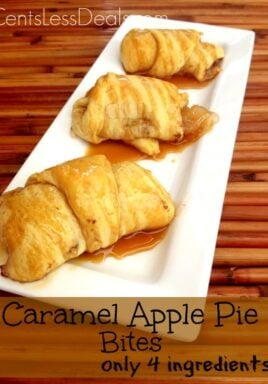 Caramel apple pie bites on a white serving plate with caramel drizzled on and a title