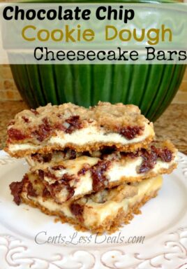 Chocolate chip cookie dough cheesecake bars in a stack on a plate with a title