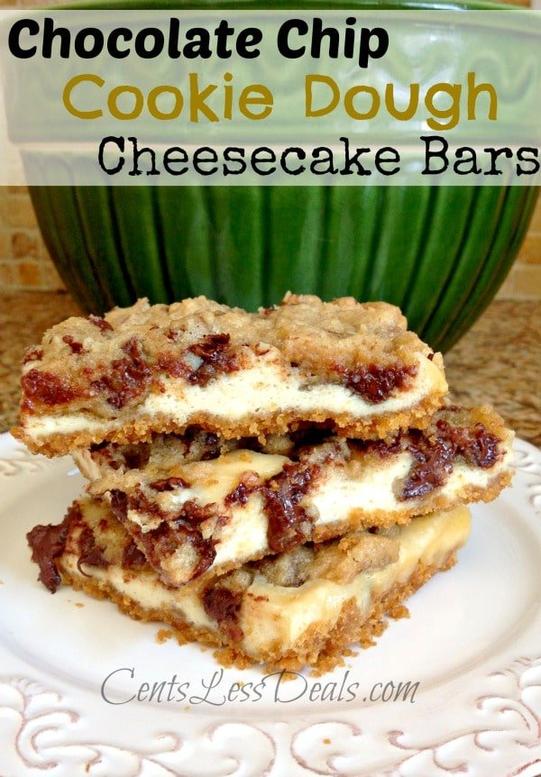 Chocolate Chip Cookie Dough Cheesecake Bars recipe - CentsLess Deals