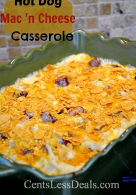 Hot dog mac and cheese casserole in a green casserole dish with a title