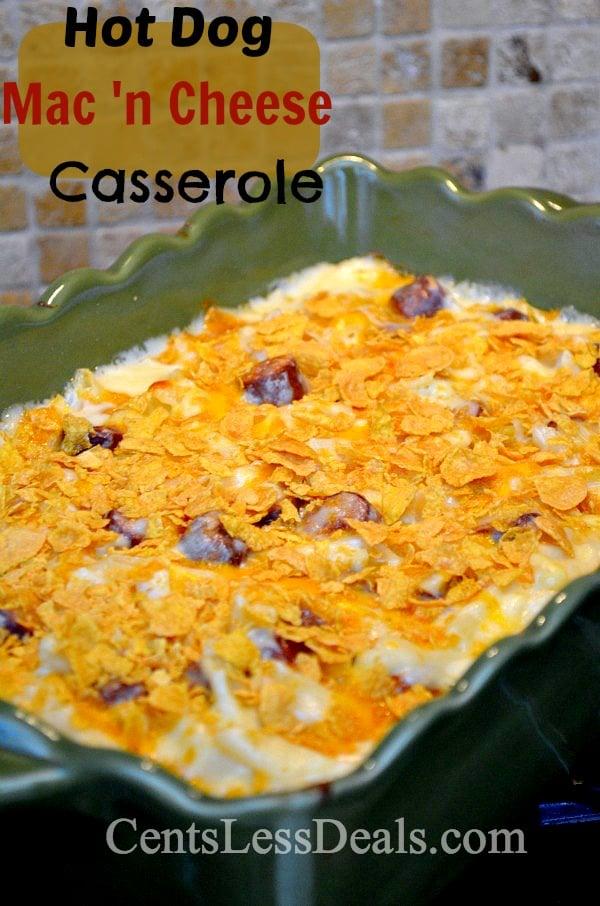 hot dog macaroni 'n cheese casserole recipe