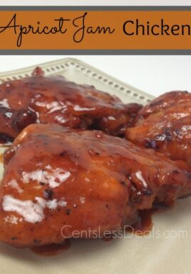 Apricot jam chicken on a plate with a title
