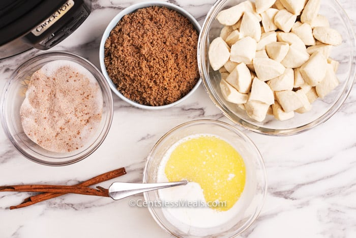 Ingredients assembled to make Monkey Bread.