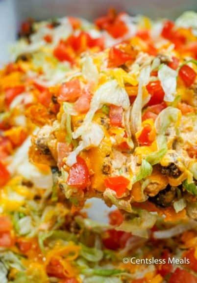 Scoop of taco casserole