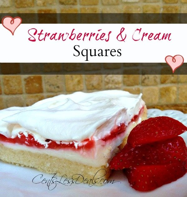 Strawberries and cream squares topped with whipped cream on a white plate with strawberries and a title