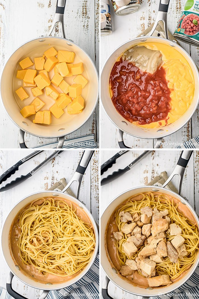 four steps for making Chicken Spaghetti in a pot