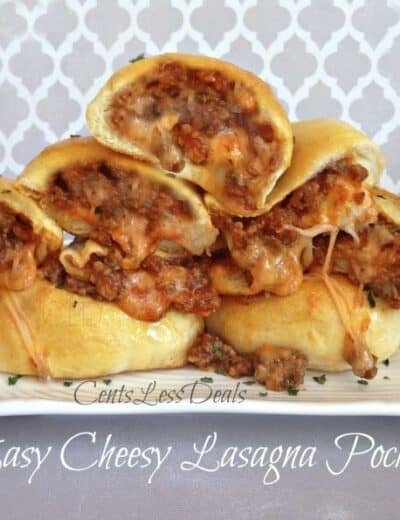 Cheesy lasagna pockets on a plate with parsley and a title