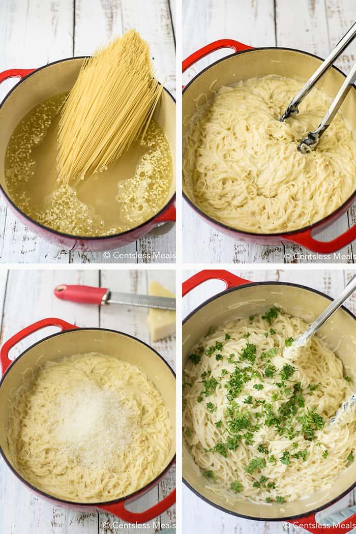 Steps to show how to make garlic pasta