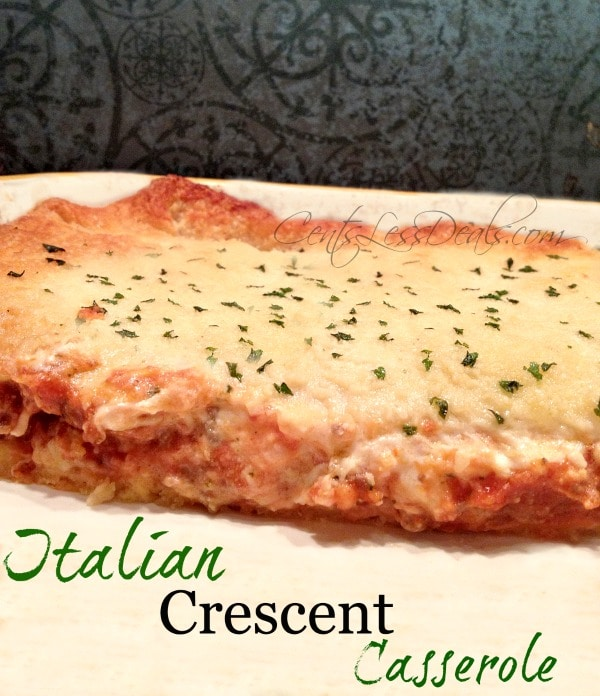 Italian crescent casserole on a white plate garnish with parsley with writing