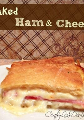 Ham and cheese Crescent bake on a plate with writing