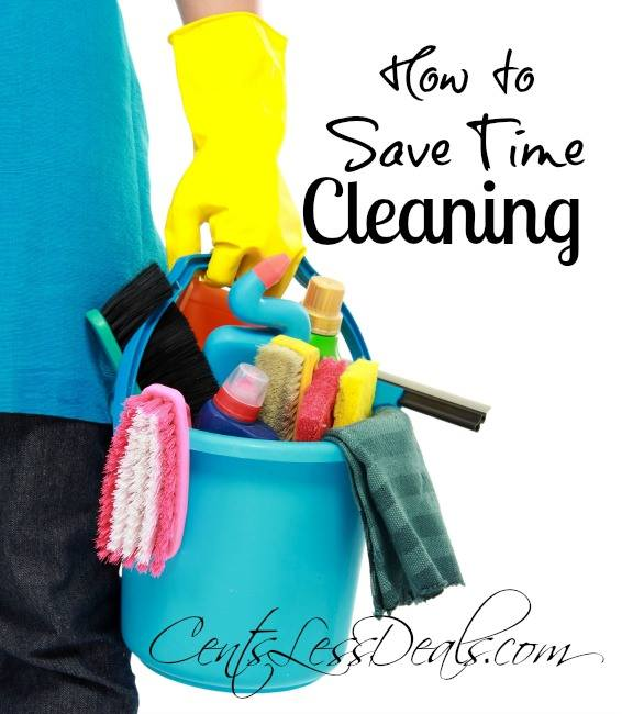 Cleaning supplies being held by someone with a rubber glove with a title