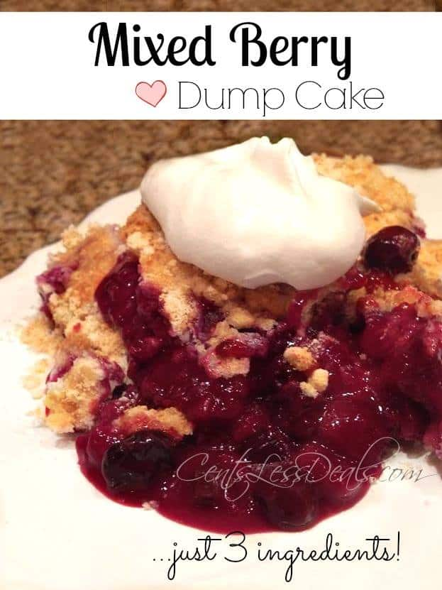 This Mixed Berry Dump Cake recipe is so easy to make! It was sooo tasty!! I bet you have all 3 ingredients on hand right now! You can even have your kids make it for you!