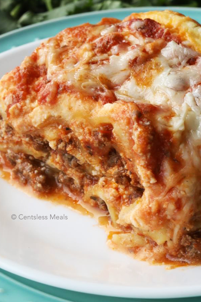 Close up photo of crock pot lasagna on a plate.