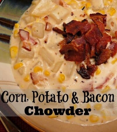 Corn potato and bacon chowder in a bowl with bacon on top and a spoon on the side with a title